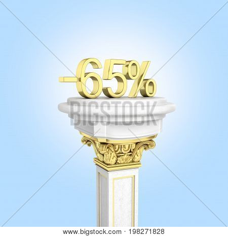 Gold Text 65 Percent Off Standing On The Pedestal Isolated On Blue Gradient Background 3D Render