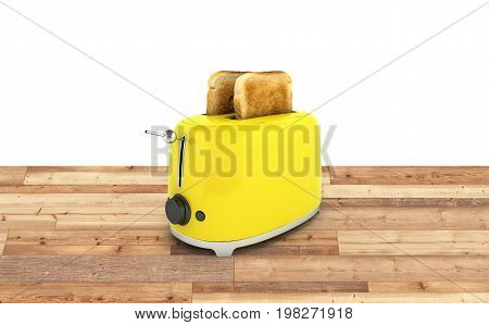 Toaster With Toasted Bread On Wood Floor And White Background Kitchen Equipment Close Up 3D