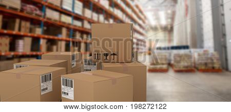 Group of illustrated cardboard boxes against cardboard boxes on rack