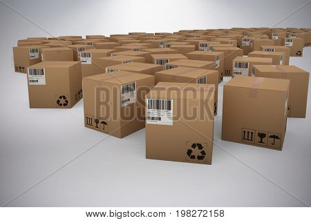 Cardboard courier boxes against grey background