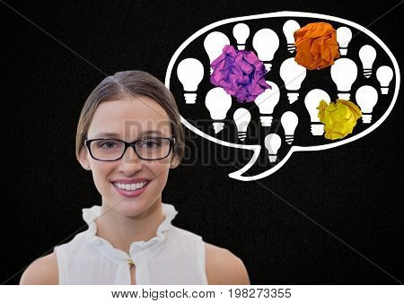 Digital composite of Woman standing next to light bulb chat bubble with crumpled paper balls
