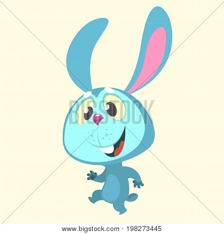Cute cartoon blue bunny rabbit character dancing. Vector illustration of a rabbit icon isolated on white