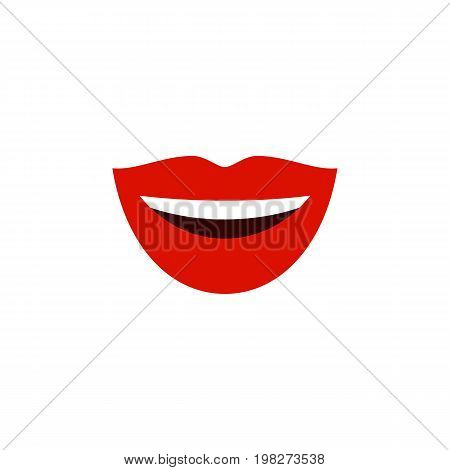 Smile Vector Element Can Be Used For Laugh, Lips, Mouth Design Concept.  Isolated Laugh Flat Icon.