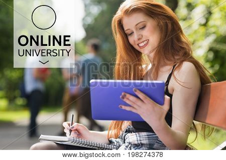 Digital composite of Education and online university text and woman looking at a tablet