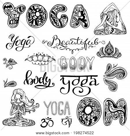 Yoga set with lettering, ornament, yoga pose. Isolated on white. Stock vector isolated