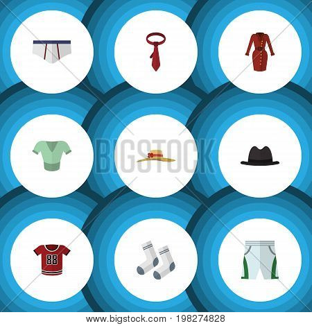 Flat Icon Dress Set Of Foot Textile, Underclothes, Panama And Other Vector Objects