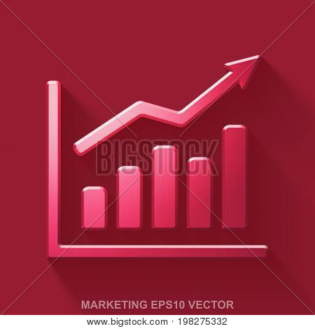 Flat metallic marketing 3D icon. Red Glossy Metal Growth Graph icon with transparent shadow on Red background. EPS 10, vector illustration.