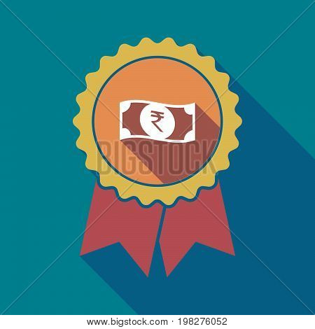 Long Shadow Badge With  A Rupee Bank Note Icon