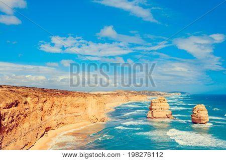 Twelve Apostles scenic coastal view at Castle Rock in pacific ocean in Victoria Australia