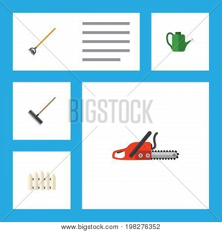 Flat Icon Garden Set Of Hacksaw, Wooden Barrier, Tool And Other Vector Objects