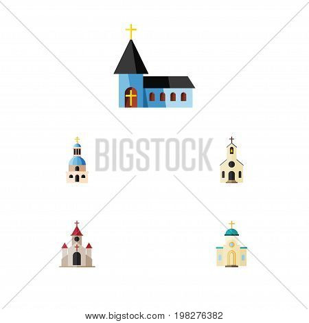 Flat Icon Building Set Of Church, Christian, Religious And Other Vector Objects