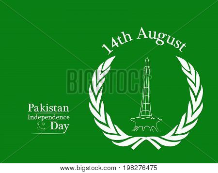 illustration of 14th August Pakistan Independence day text with Minar-e-Pakistan on the occasion of Pakistan Independence day