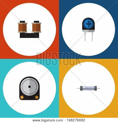 Flat Icon Technology Set Of Transducer, Hdd, Coil Copper And Other Vector Objects