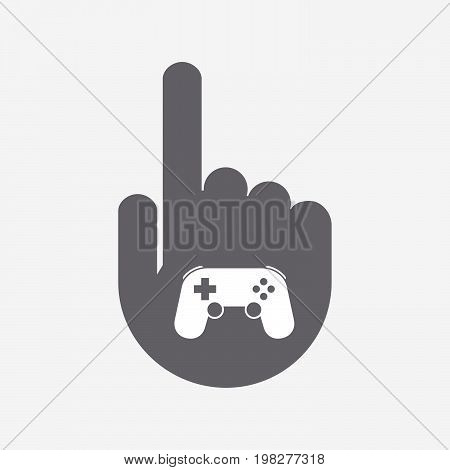 Isolated Touching Hand With  A Game Pad