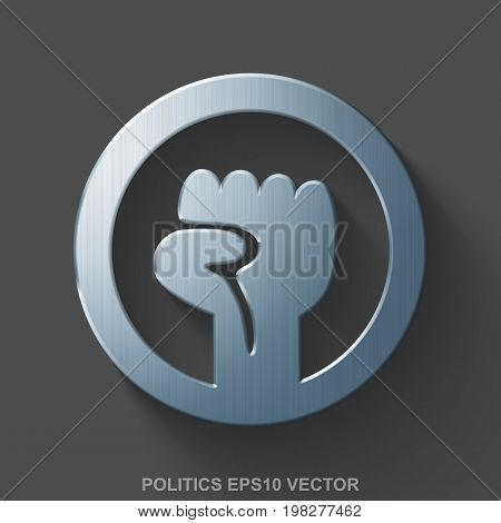 Flat metallic political 3D icon. Polished Steel Uprising icon with transparent shadow on Gray background. EPS 10, vector illustration.