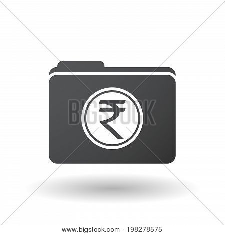 Isolated Folder With  A Rupee Coin Icon