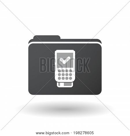 Isolated Folder With  A Dataphone Icon