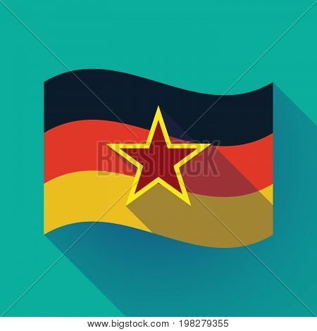 Long Shadow Germany Flag With  The Red Star Of Communism Icon