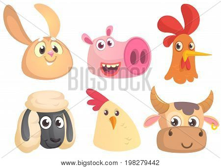 Set of cartoon farm animals head icons. Vector collection of farm domestic animals. Rabbit pig rooster sheep chicken cow. Design elements isolated.