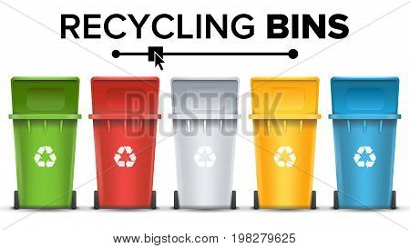 Recycling Bins Isolated Vector. Set Of Red, Green, Blue, Yellow, White Buckets. For Paper, Glass, Metal, Plastic Recycling Waste Sorting Isolated