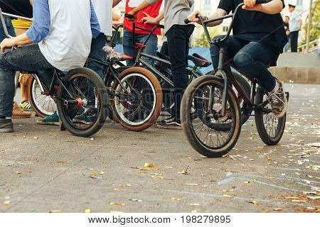 gathering of cyclists BMX. Company of young people on BMX.
