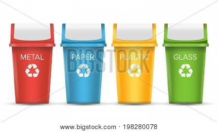 Multicolored Recycling Bins Vector. 3D Realistic. Set Of Red, Green, Blue, Yellow Buckets. For Paper, Glass, Metal, Plastic Sorting Isolated On White