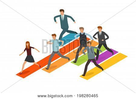 Education concept. Group of business people or students running to the goal. Infographics vector illustration isolated on white background