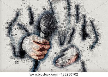 Female news reporter journalist conducting interview hand with microphone mixed media illustration