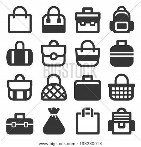 Bag Icons Set on White Background. Vector