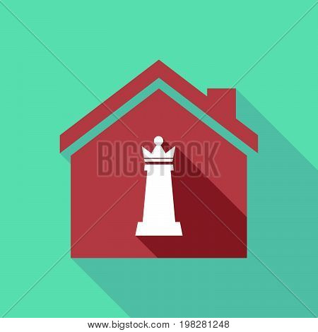 Long Shadow House With A  Queen   Chess Figure