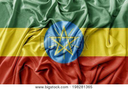 Ruffled waving Ethiopia flag national flag close