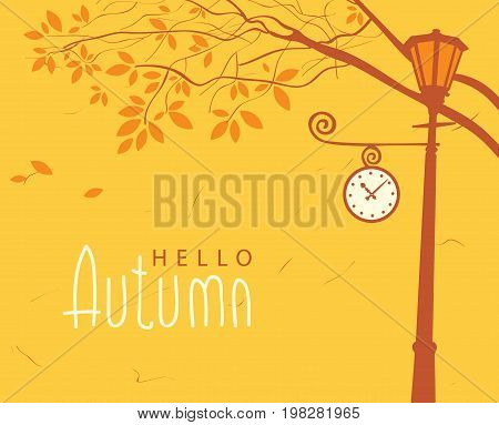 Vector banner with inscription hello autumn. Autumn landscape with trees in the park and Clock on the lamp post