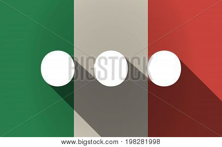Long Shadow Italy Flag With  An Ellipsis Orthographic Sign