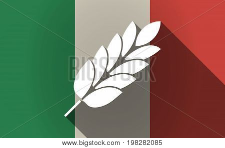 Long Shadow Italy Flag With  A Wheat Plant Icon
