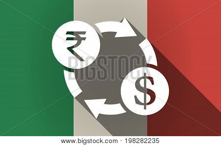 Long Shadow Italy Flag With  A Rupee And Dollar Exchange Sign