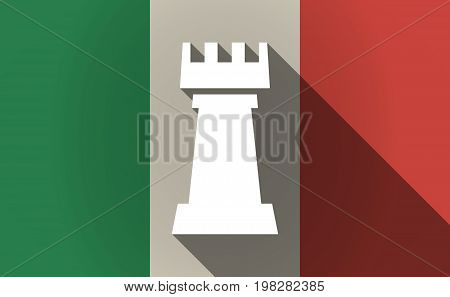 Long Shadow Italy Flag With A  Rook   Chess Figure