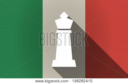 Long Shadow Italy Flag With A  King   Chess Figure