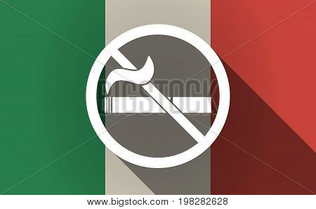 Long Shadow Italy Flag With  A No Smoking Sign