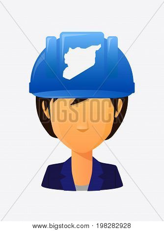 Worker Avatar With  The Map Of Syria
