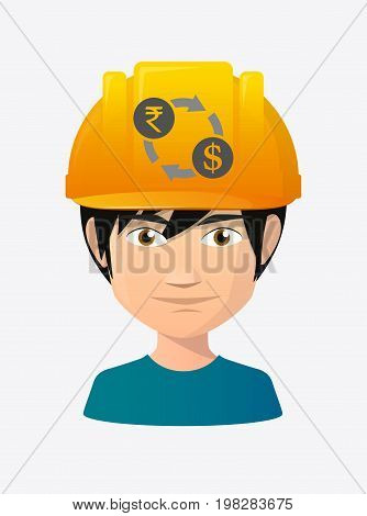 Worker Avatar With  A Rupee And Dollar Exchange Sign