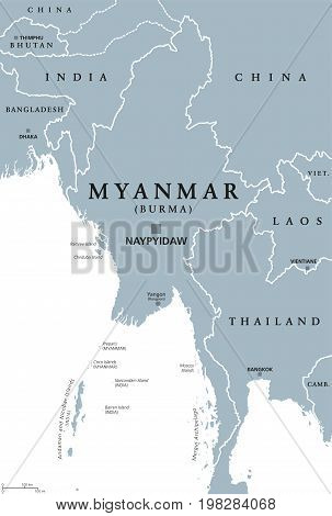 Myanmar political map with capital Naypyidaw. English labeling. Republic of the Union of Myanmar, also known as Burma. Country and sovereign state in Southeast Asia. Gray illustration. Vector.