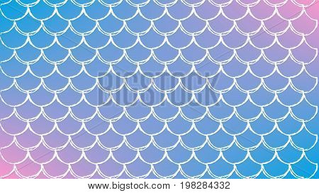 Fish scale on trendy gradient background. Horizontal backdrop with fish scale ornament. Bright color transitions. Mermaid tail banner and invitation. Underwater sea pattern. Blue, rose, pink colors.