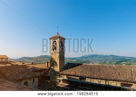 It's one of the three towers located in the small european country of San Marino on the three peaks of Monte Titano. Horizontal frame