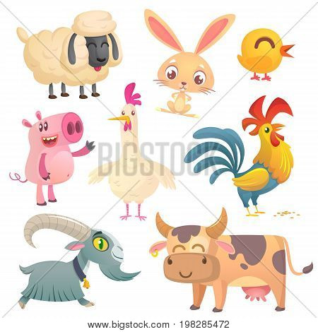 Collection of cartoon farm animals. Vector set of animal icons isolated on white. Vector illustration of sheep bunny rabbit cute chicken pig hen rooster goat and cow
