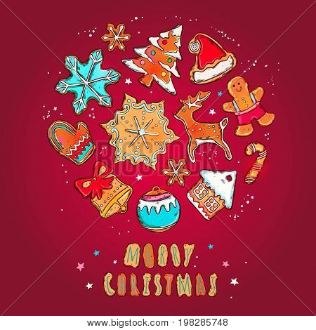 Merry christmas and happy new year vector banner. Gingerbread cookies concept. Different winter elements: snowflakes, gingerbread man, christmas tree, gloves, Santas deer, Santas hat and other