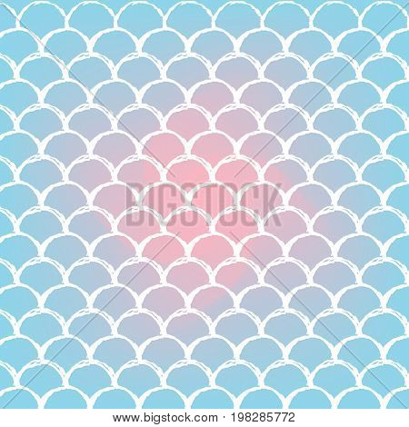 Mermaid tale on trendy gradient background. Square backdrop with mermaid tale ornament. Bright color transitions. Fish scale banner and invitation. Underwater and sea pattern. Blue, rose, pink colors.