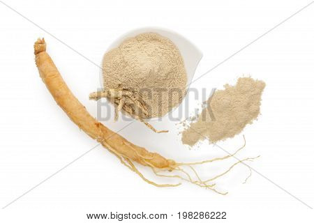 Ginseng Root Powder from above isolated on white background. Ground powder and root. Adaptogen. Medicinal plant. Korean ginseng.