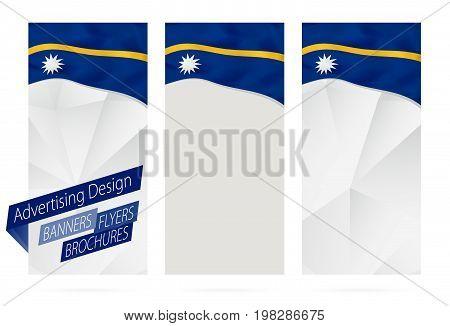 Design Of Banners, Flyers, Brochures With Flag Of Nauru.