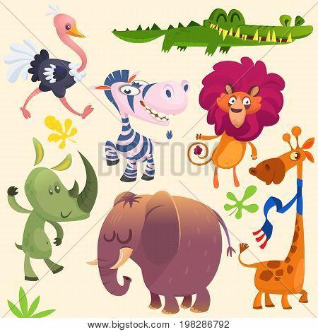 Cartoon African savanna animal set. Wild animals icon collections. Set of cartoon jungle animals flat vector illustration. Crocodile alligator giraffe rhino zebra ostrich lion and elephant