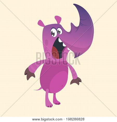 Cartoon rhino mascot. Flat Bright Color Simplified Vector Illustration In Fun Cartoon Style Design. Isolated